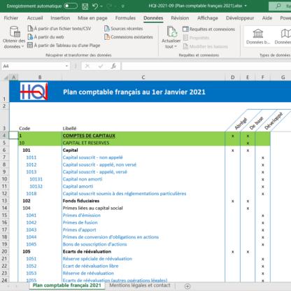 Plan comptable 2021 au format Excel
