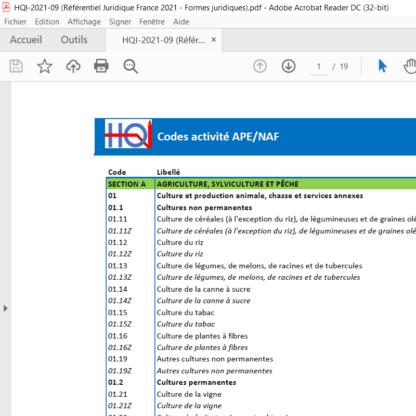 Référentiel juridique France 2021
