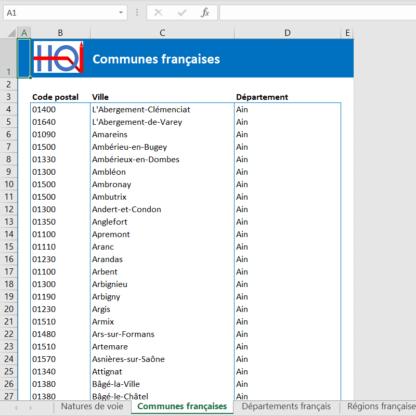 Référentiel géographique France au format Excel